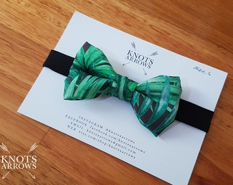 Green Emerald Leaves Palm Fern Forest Jungle Baby Boy Toddler Men Bow Neck Tie / wedding photo prop birthday preppy