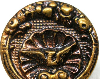 "Antique French BUTTON, Victorian Mythology, Phoenix on half shell. Made in Paris. 11/16""."