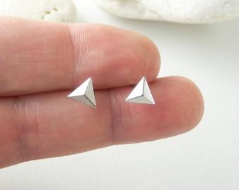 Silver Pyramid Stud Earrings. Sterling Silver Pyramid Earrings. Sterling Silver Post. Minimal Earrings. Girls Jewelry. Tiny Stud Earrings.