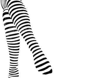 Art to Print -Fashion Illustration - Wall Decor - Modern Wall Art - Digital Illustration - Stripes Legs
