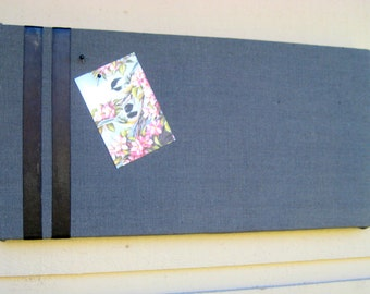Linen Pinboard, Modern and classic Linen and cotton blend Bulletin Board with satin ribbon for your Photos and notes, pin or tack board