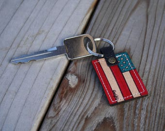 Leather Key Chain- American Flag