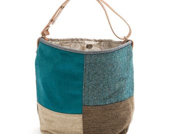 "Small bucket bag ""Otello"", blue, jeans, denim, camel, floral, Canvas bag, Handbag, Shoulder bag, Top handle bag, Leather handle"