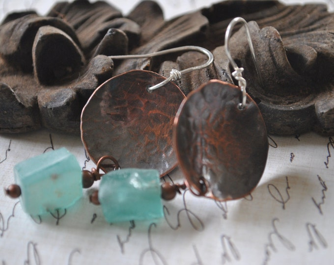 Copper and ancient glass dangling earrings, textured metal earrings, rustic earrings, artisan earrings