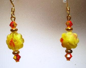 Yellow Orange Dangle Earrings - E28