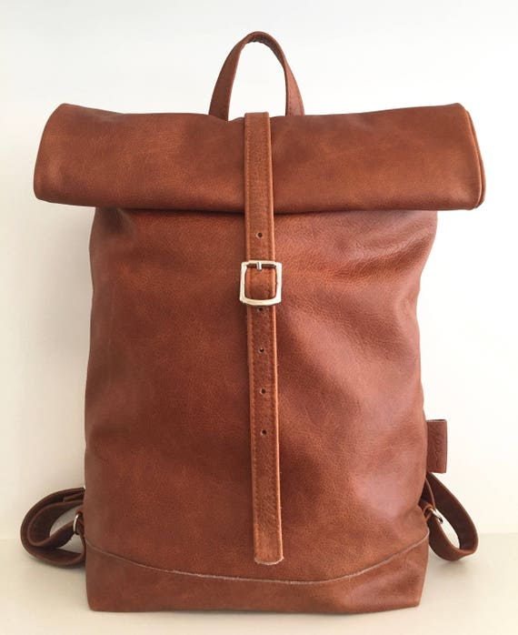 "Leather backpack , rolling backpack , backpack leather , brown leather backpack""BERNSTEIN"""