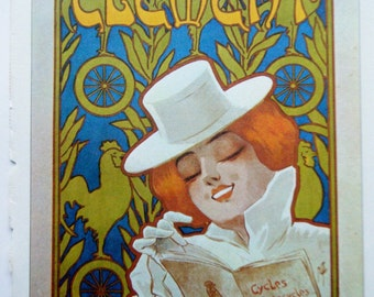 Vintage Bicycle Poster Cycles Clement French Poster Size Book Plate