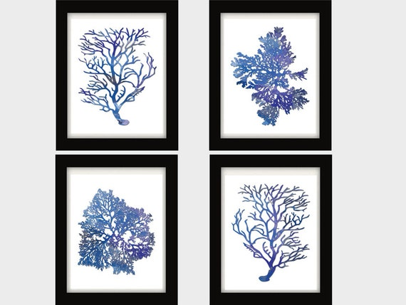 Indigo Blue Coral Prints Blue Sea Coral Print Set Of FOUR