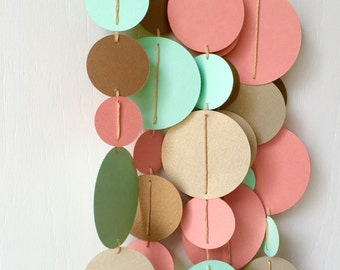 Wedding Decor / Bunting / Circle Garland / mint coral gold decor / Nursery Bunting