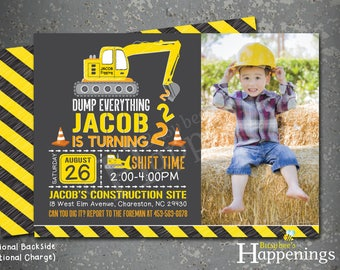 Bulldozer Invite Construction Birthday Invitation Chalkboard Construction Invitation Excavator Invite Digital File by Busy bee's Happenings