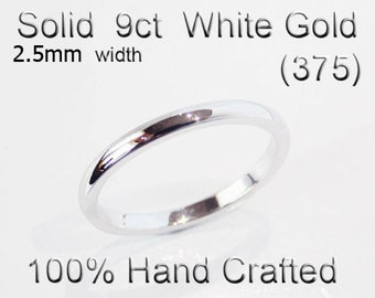 9ct 375 Solid White Gold Ring Wedding Engagement Friendship Half Round Band 2.5mm
