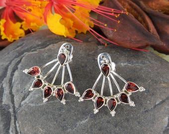 Garnet sterling silver post earrings