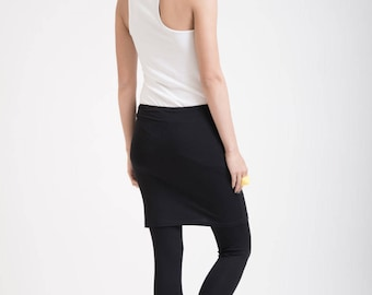 Skirted Leggings / Womens Tights / Yoga Pants with an Attached Skirt / Fold Over Tights / Leggings / Marcellamoda - MP0175