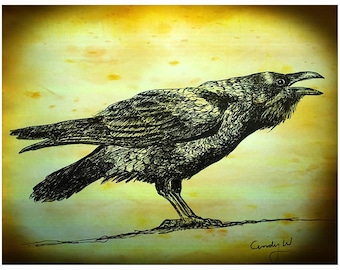Original black and tan Fabric Raven or crow penel by Cindy Watkins  cotton