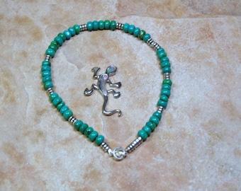 Anklet-Turquoise Gemstone, 925 Silver Anklet
