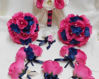 Custom made bridal accessories and decor by bellinablue on etsy reserved listing 3 boutonnieres hot pink roses ivory navy blue ribbon mightylinksfo