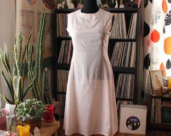 1960s 70s vintage shift dress, womens size large . red & white stripe sleeveless dress