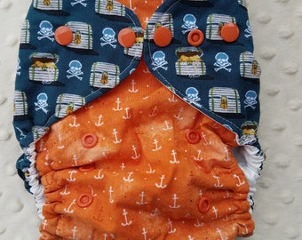 One Size, cloth diaper cover, cotton over PUL with AI2 option, anchors on orange and pirate treasure, nautical