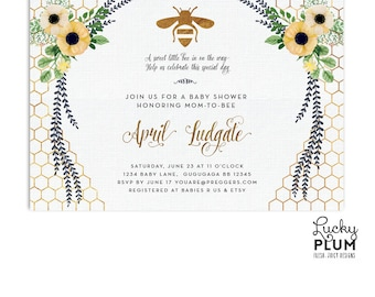Bee baby shower invitation bumble bee baby invite yellow bee baby shower invitation sunflower baby shower invitation flower baby shower invitation spring baby shower gold geometric be01 filmwisefo