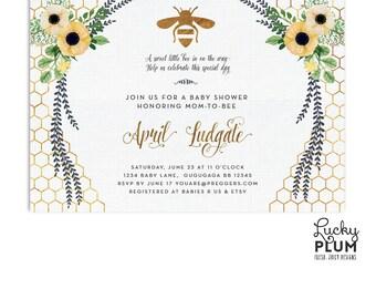 Bee Baby Shower Invitation / Sunflower Baby Shower Invitation / Flower Baby  Shower Invitation / Spring