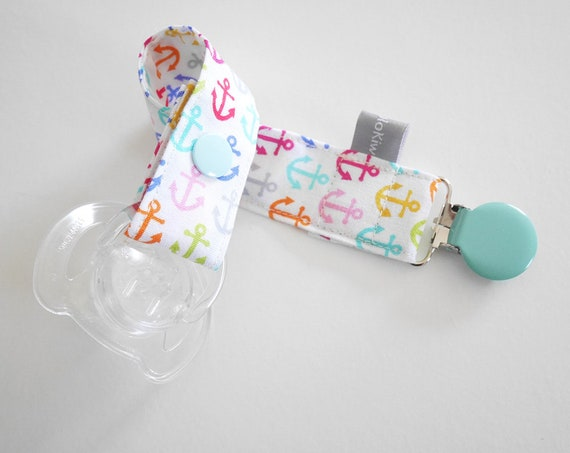 Pacifier clip - snap - enamel clip - anchor - pink - white - blue-green - cotton fabric - baby - baby gift - baby shower - last piece