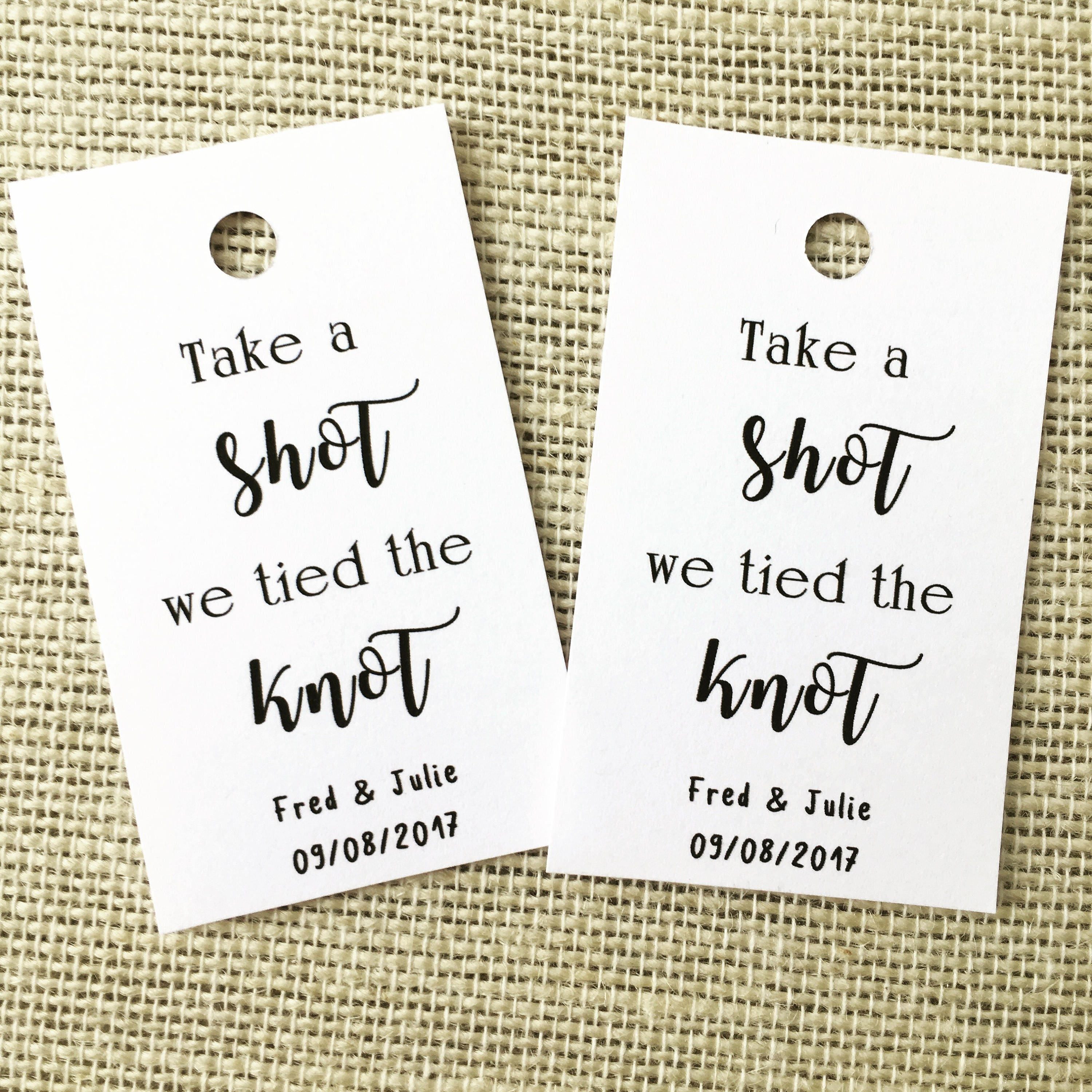 OFFER Take a shot we tied the knot Wedding favour tags