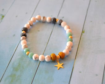 White Howlite bracelet and gold plated