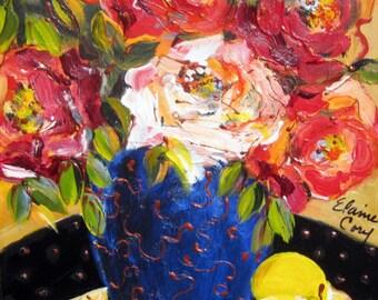 Lemons on Black Still Life Original Painting deep canvas 11 x 14 Art by Elaine Cory