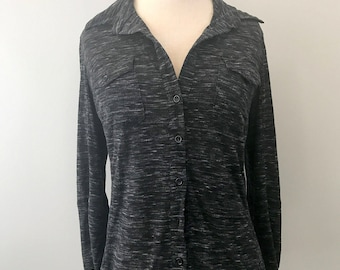 Button-Down Shirt in Black Speckled Fabric