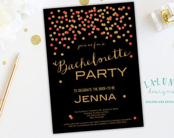 Bachelorette Invitation, Glitter Bachelorette Invitation, Confetti Glitter Bachelorette Invite, Hens Party Invitation, Bachelorette Invite