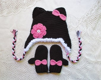 READY TO SHIP - 3 to 4 Year Size - Black and Medium Pink Kitty Crochet Hat & Mitten Set  - Winter Hat - Photo Prop