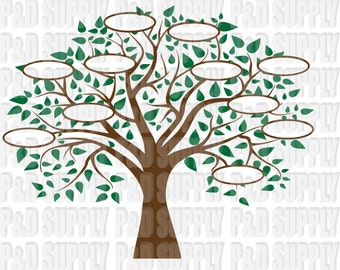 Family Tree 11 SVG, DXF Digital cut file for cricut or Silhouette svg, dxf - 11 Circles for Family Members