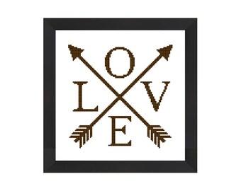 Love cross stitch, Arrow cross stitch, tribal cross stitch pattern pdf