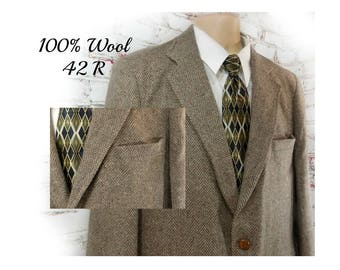 men's wool Sport coat, men's brown blazer, men's sports jacket, men's blazer, brown wool sport coat , 42 R  - # 120 A