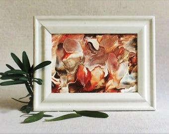 Small red abstract painting | fluid small canvas | framed abstract art | red mini canvas | red white abstract | shelf art | gift for friend