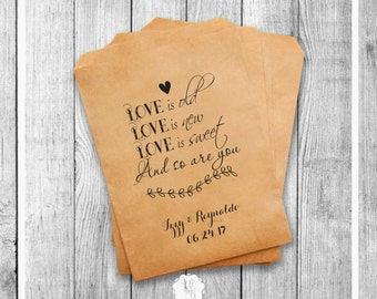 Set of 20 Wedding Favor Bags Wedding Favors Personalized Cookie Buffet Bags Candy Bar Bags Wedding Gift Idea Custom Wedding Favors Style 031