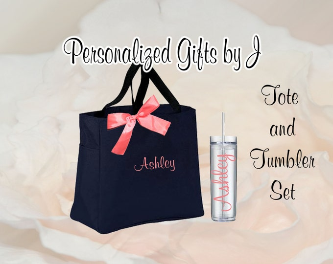 7 Totes and Tumblers, Bridesmaid Gifts, Bridesmaid Bags, Skinny Tumblers, Bridesmaids Totes and Tumbler Set, Bridal Party Gift, Wedding Bag