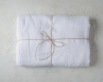 LINEN FLAT SHEET. Bed linen sheets. White linen sheet queen size, king size.
