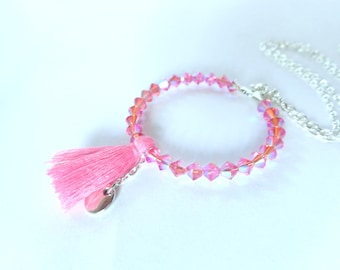 Necklace pearls pink tassel and tops