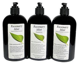 ROSEMARY MINT, Liquid, Shampoo, Conditioner, Lotion, Essential Oil, VEGAN, Paraben Free, Homemade, Natural, 8oz, 16oz, Black Pump