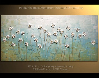"48"" x 24"" Original  Modern Palette Knife Textured Oil Painting Heavy Palette Knife Wild  Daisies floral fine art by P. Nizamas"