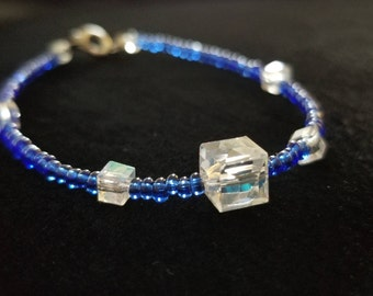 Clear Cube Jewels and Blue beaded bracelet
