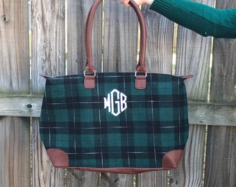 Monogrammed Plaid Luggage bag, Monogrammed luggage, Plaid Luggage, Plaid bag, Monogrammed Plaid bag, Overnight bag