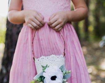 Flower girl basket | White Flower Girl Bucket | Vintage Wedding Basket | Anemone and Greenery | Metal Basket |  Romantic Flower Girl