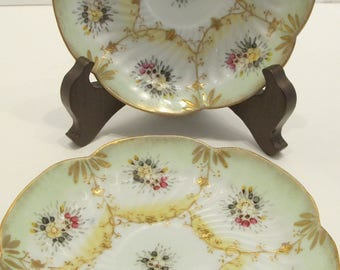 Vintage Scalloped Saucers - Set of 2 - Hand painted