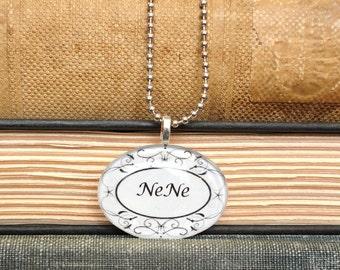 "Oval Glass Pendant on a Chain- ""NeNe"""