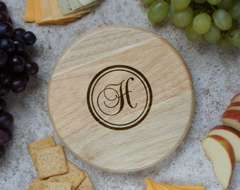 """Design's Personalized Home Cutting Board with Monogram Design Options & Font Selection (Each - 7"""" Diameter)"""