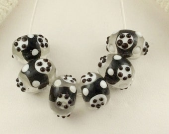 7-Black and white Lampwork Rondelles,12mm Lampwork glass, black and white dotted glass beads, unique black dotted beads,  L265, ,Ships USA