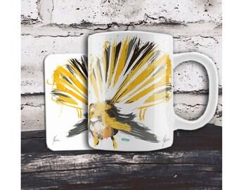 Yellow and Gray Bird. Mug and Coaster. New Zealand fantail bird cup and coaster, Native NZ bird art