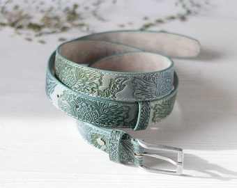 Mint Green Leather Belt, 1.2 inches wide, Leather belt for Women, Hand Painted Tooled Leather Belt, Floral Pattern, 30 32 34 36 38 40 waist